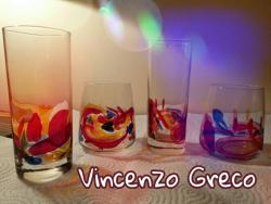 Progetti di bicchieri e vetri colorati firmati Vincenzo Greco